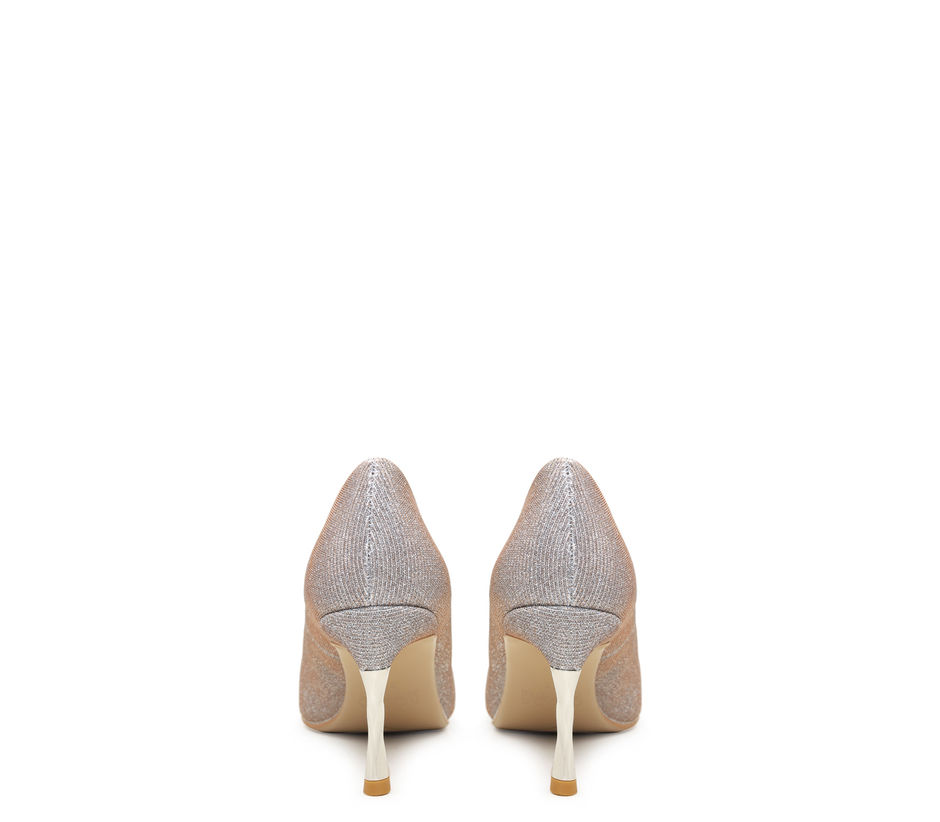 Shimmery Silver Heels With Studs