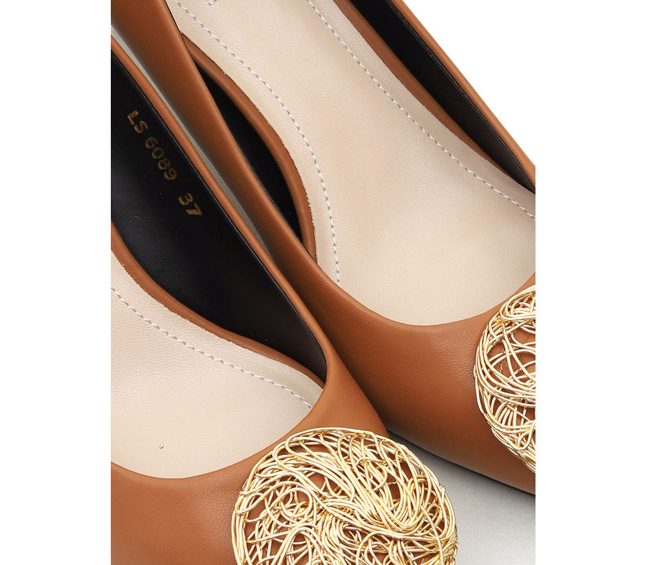 Tan Heels With Metal Embellishment