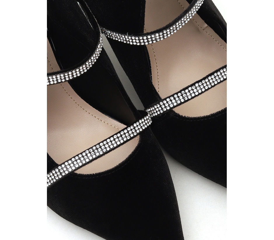 Silver Stripes Slip On Heels