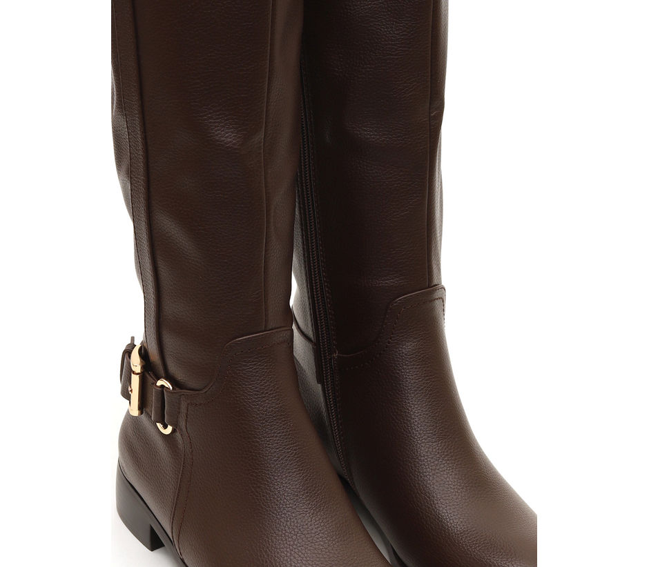 Knee Length Buckle Strap Boots