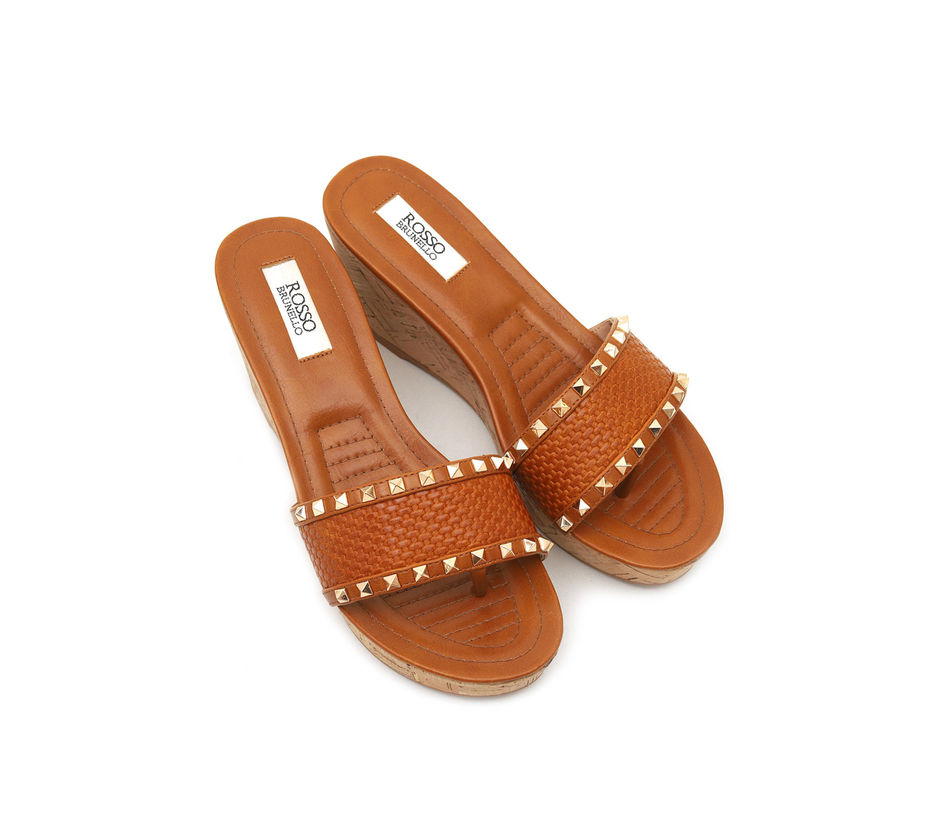 Broad Slip On Wedges With Studs