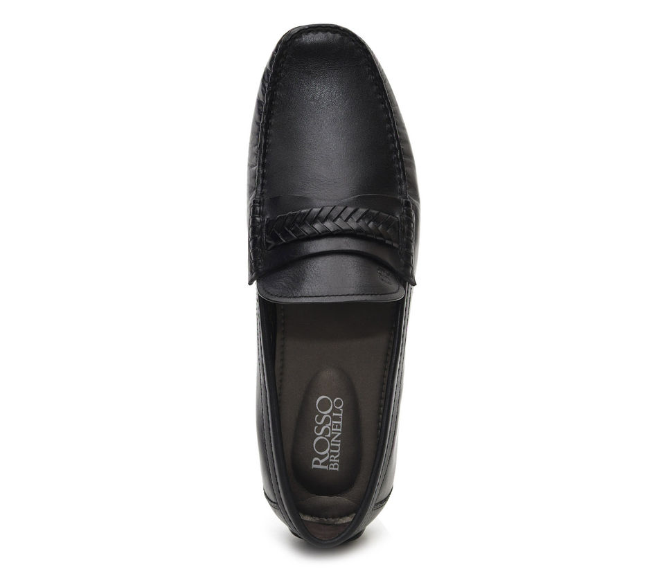 Black Moccasins With Weave Detailing