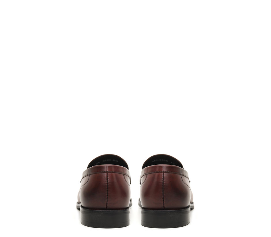 Burgundy Loafers With Leather Panel