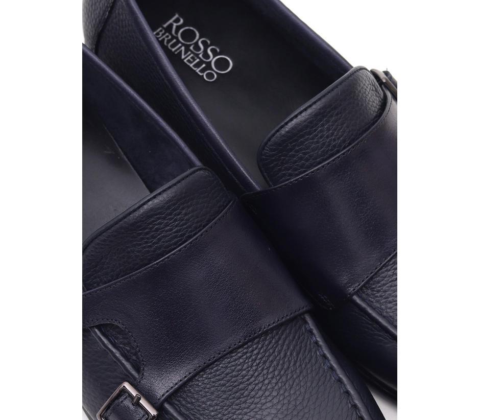 Plain Blue Leather Monk Strap