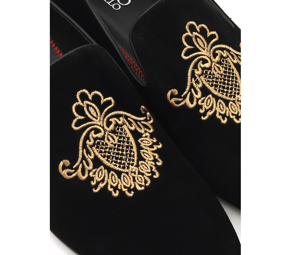 Embroidered Suede Loafers