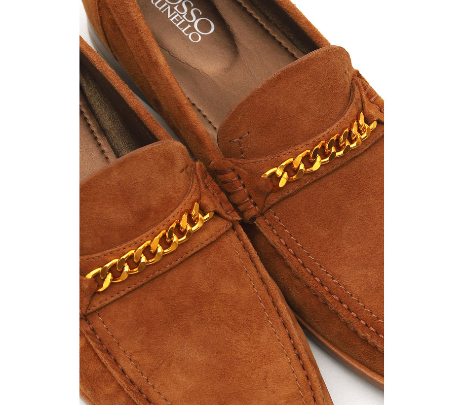 Chained Suede Loafers