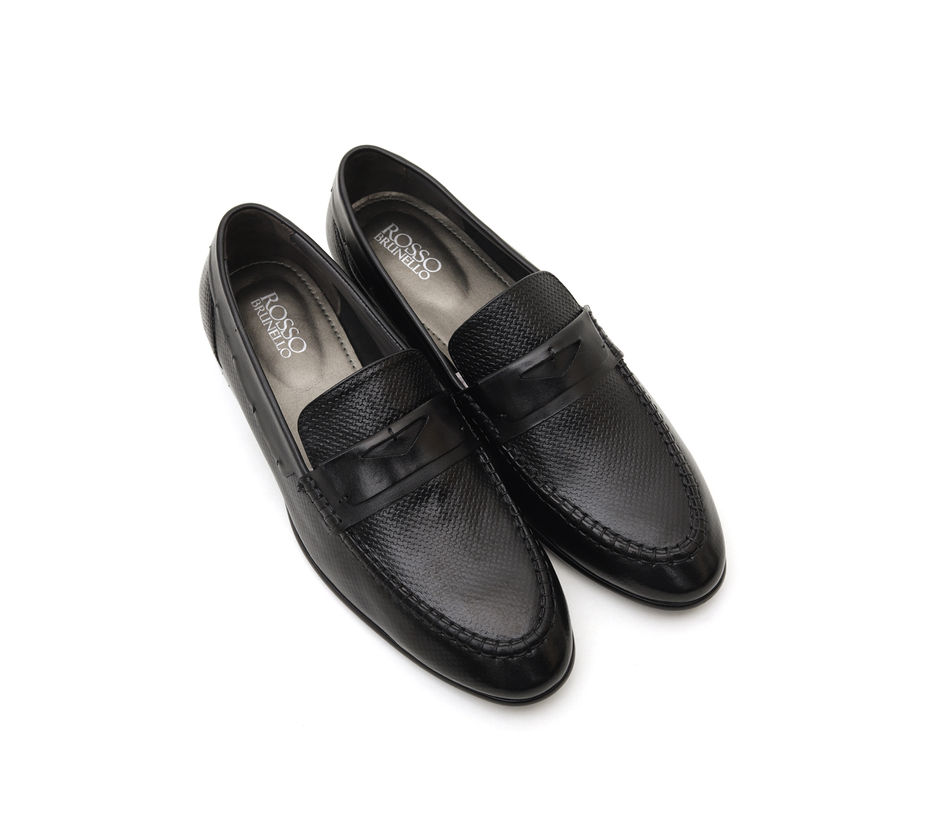 Black Textured Loafers