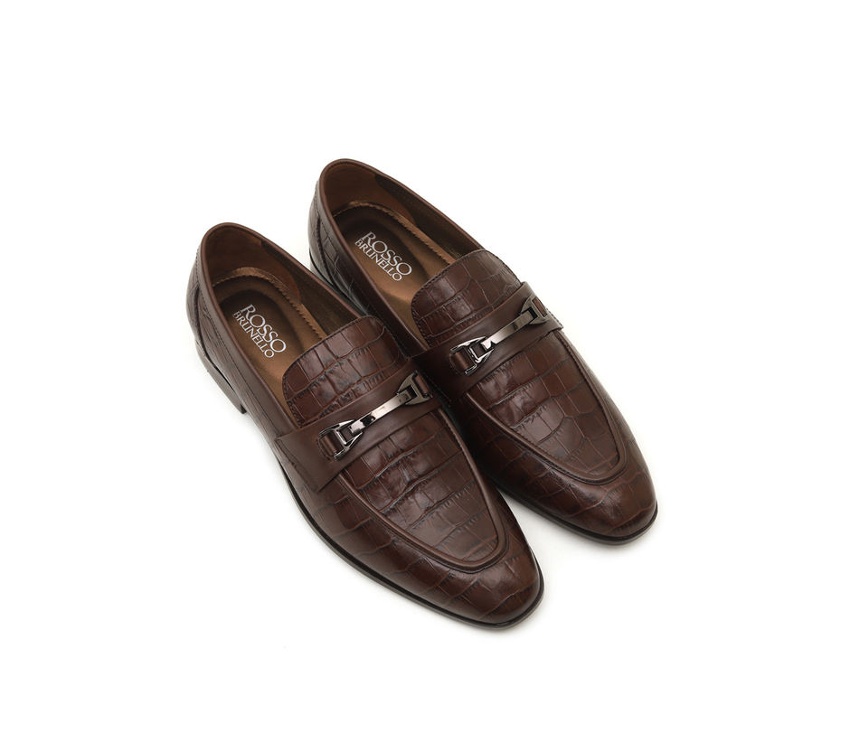 Croco Leather Loafers