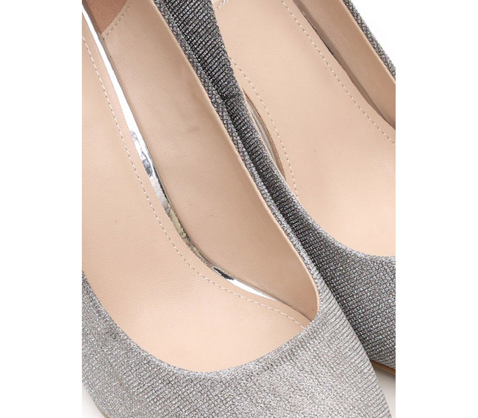 Shimmery Silver Stilleto Pumps