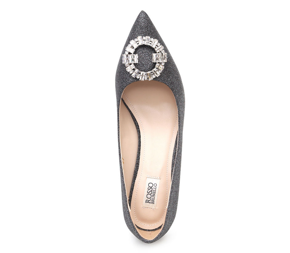 Shimmery Silver Pumps With Studded Buckle