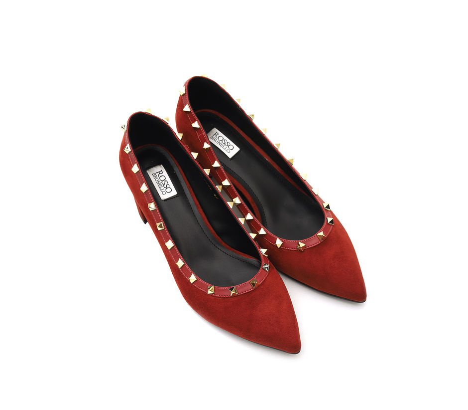 Suede Block Pumps With Studs
