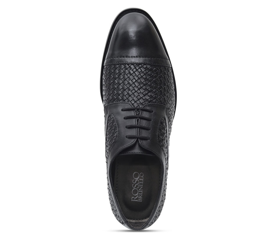 Black Weave Textured Lace Ups