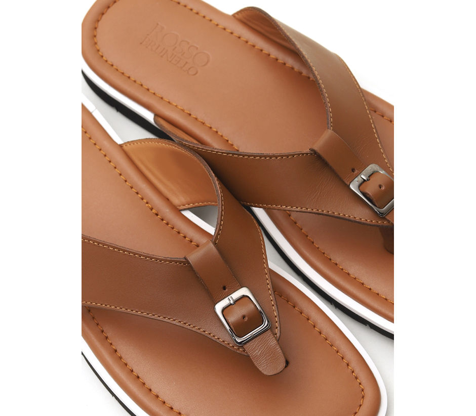 Tan Buckled Slippers