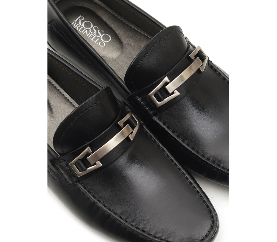 Textured Moccasins With Metal Embellishment