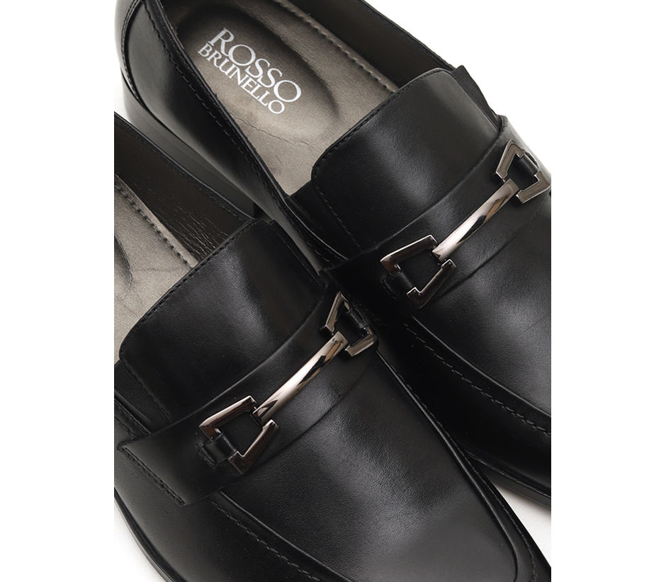 Genuine Leather Loafers With Metal Embellishment