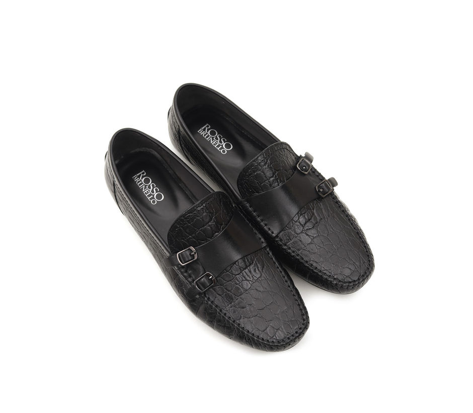 Croco Leather Monk Straps