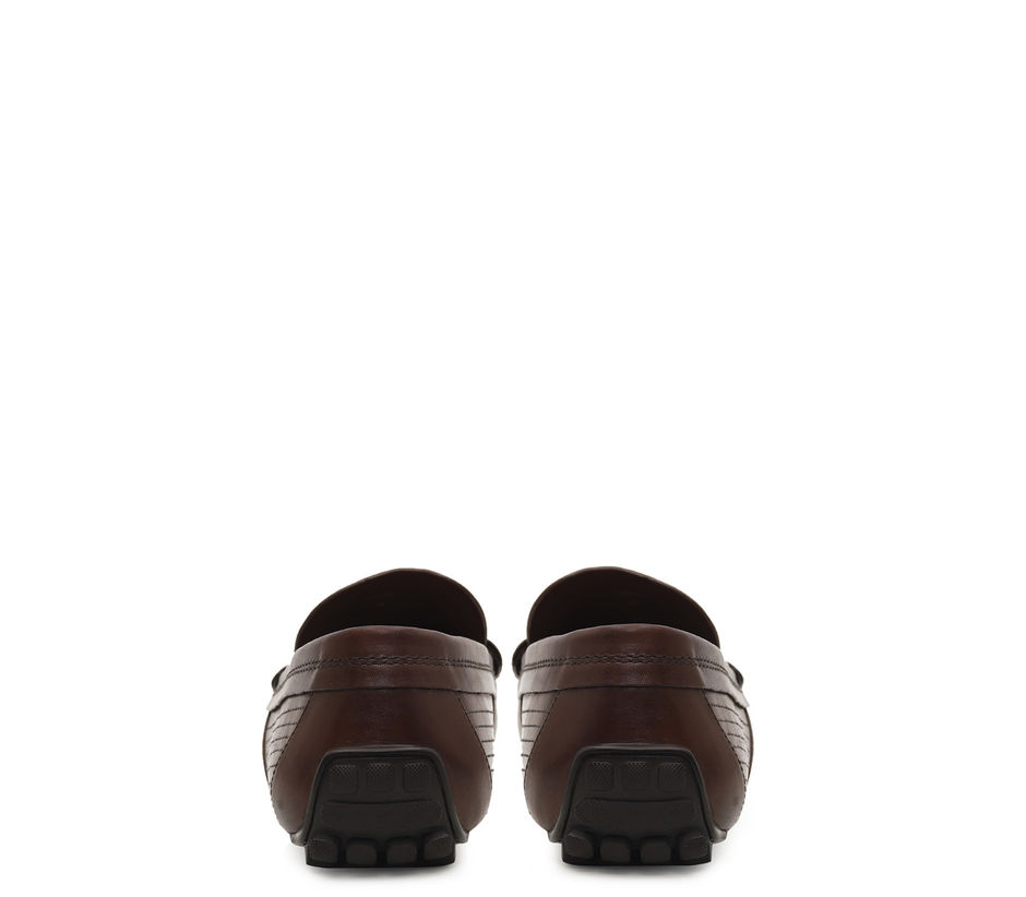 Plain Coffee Moccasins With Penny Buckle