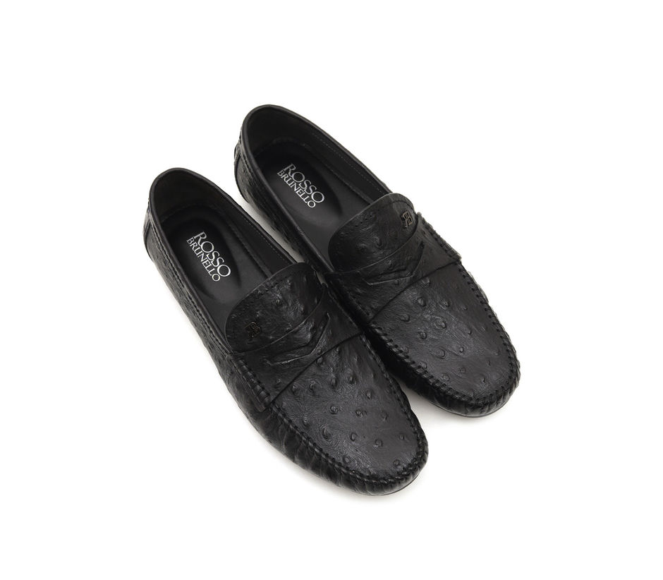 Black Moccasins In Ostrich Leather