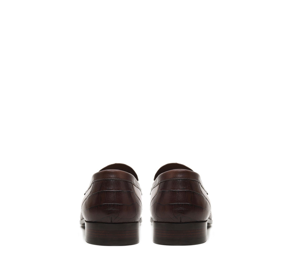 Plain Coffee Loafers With Metal Embellishments