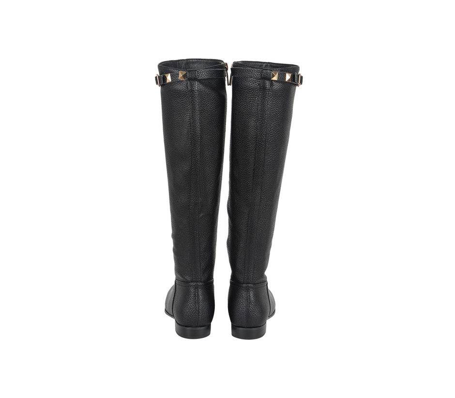 Milled Leather Print Boots With Stud Detailing
