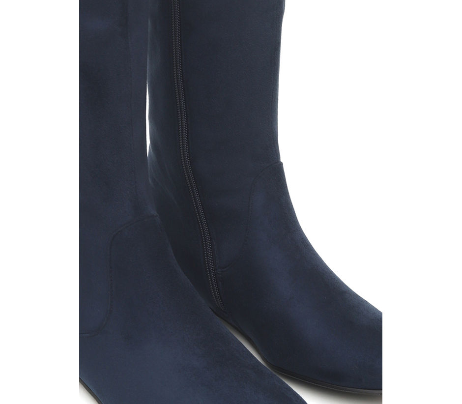 Suede Boots With Buckle Detail