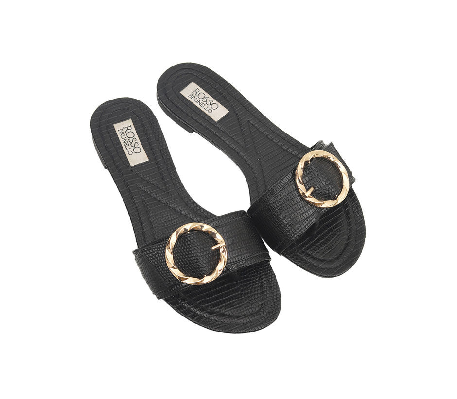 Slip On Flats With Buckle Detail