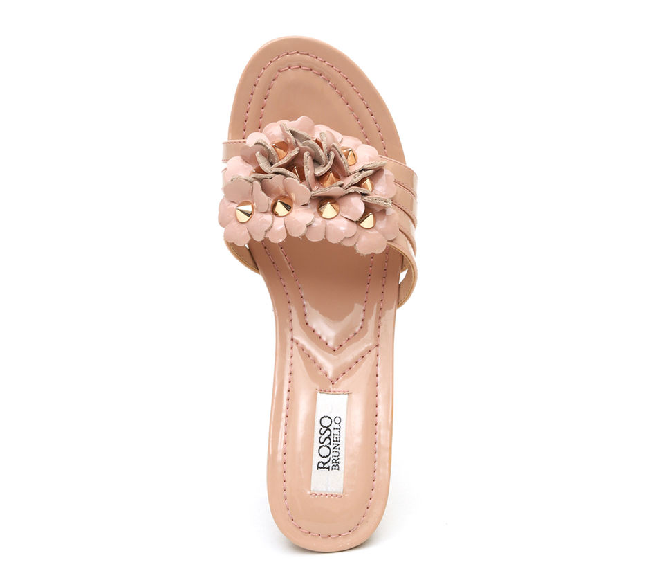 Slip On Wedges With Floral Embellishment