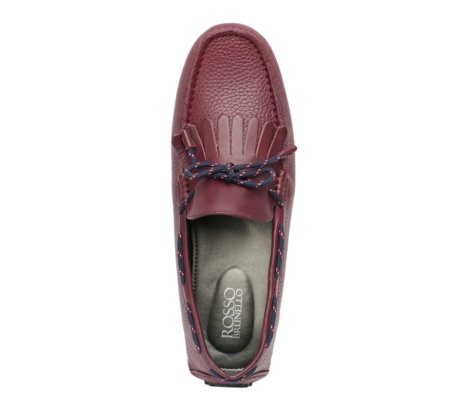 Milled Leather Moccasins With Fringe And Laces