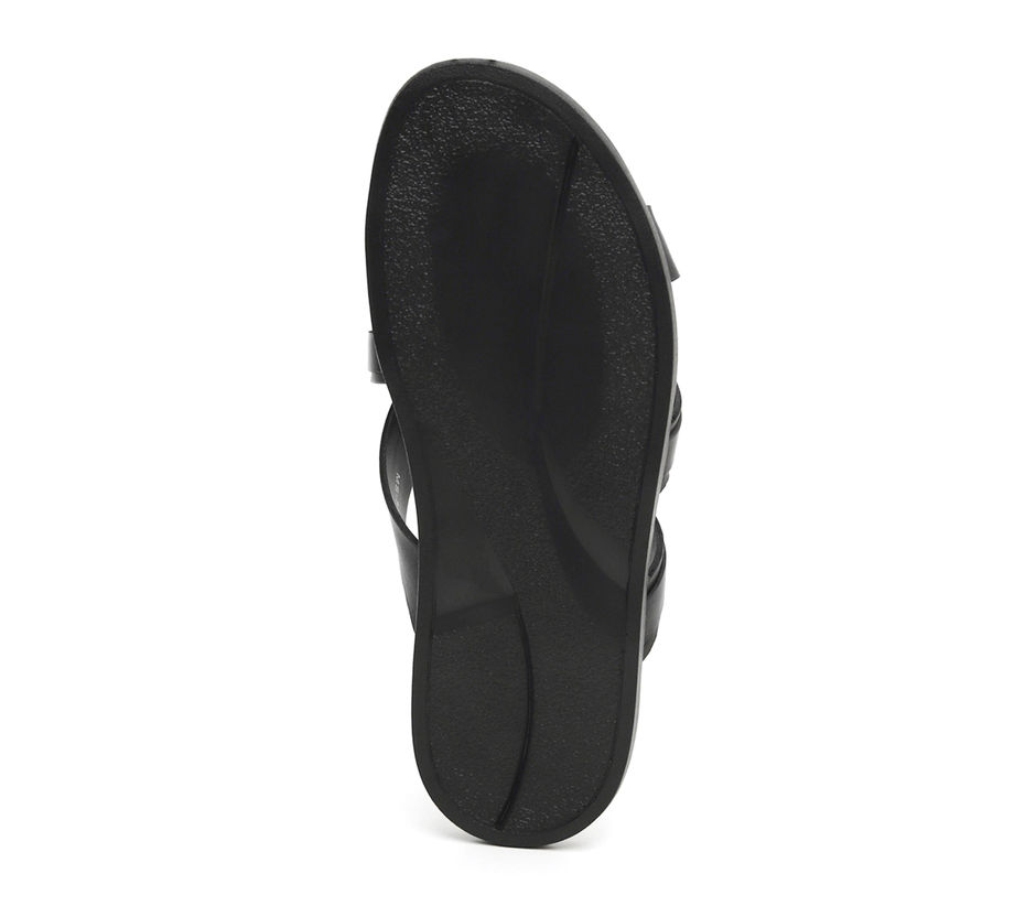 Criss Cross Black Leather Slippers