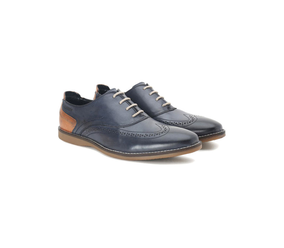Buy Casual Blue Leather Lace-up Shoes