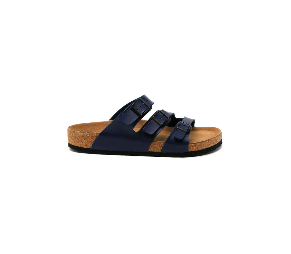 Cygna Triple strapped buckled blue sandals
