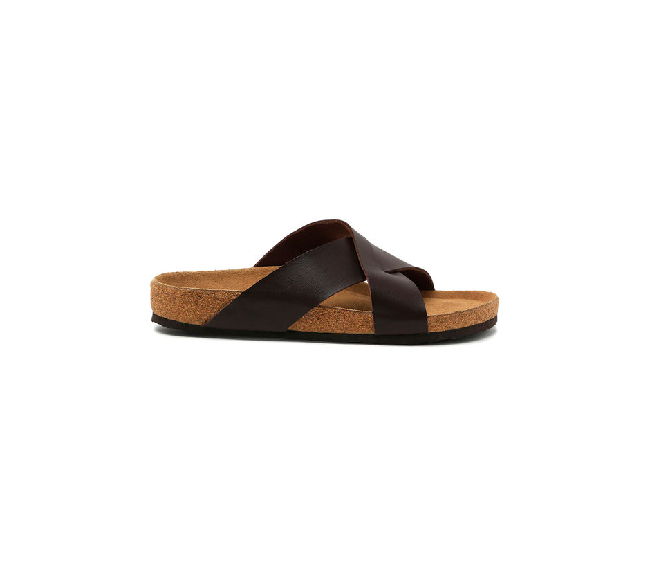 Cygna Cross strapped brown slippers