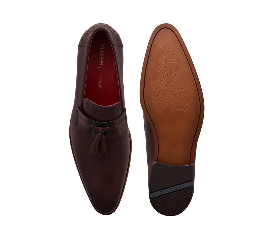 Paisley Slip-on with Tassels - Brown