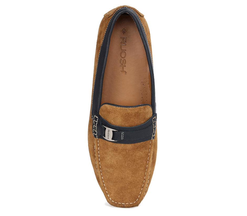 Suede Driving Shoes - Mustard + Blue