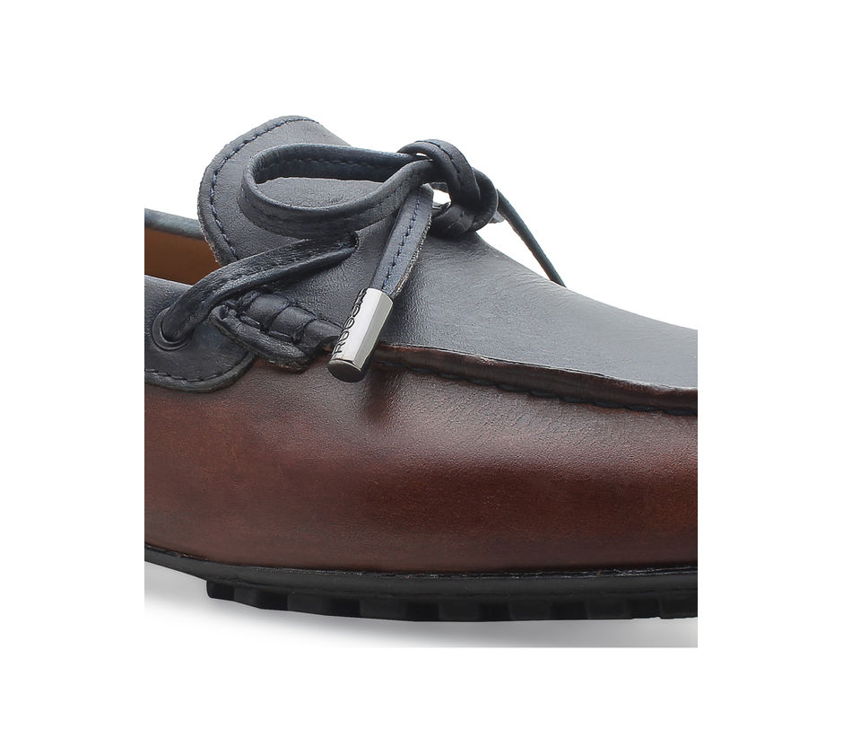 Driving shoes with leather laces - Olive and brown