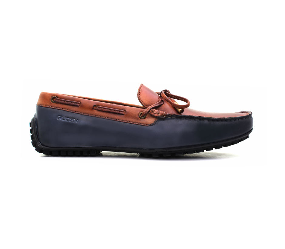 Driving shoes with leather laces - Navy & Tan
