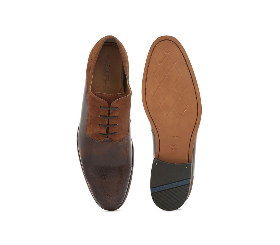 Occasion Lace-ups wit laser detailing - Brown