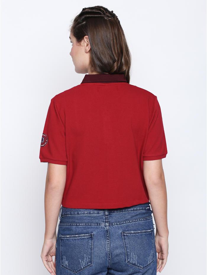 c054ce6f9243e Disrupt Red Cotton Self Design Regular-Fit T-Shirt For Women s