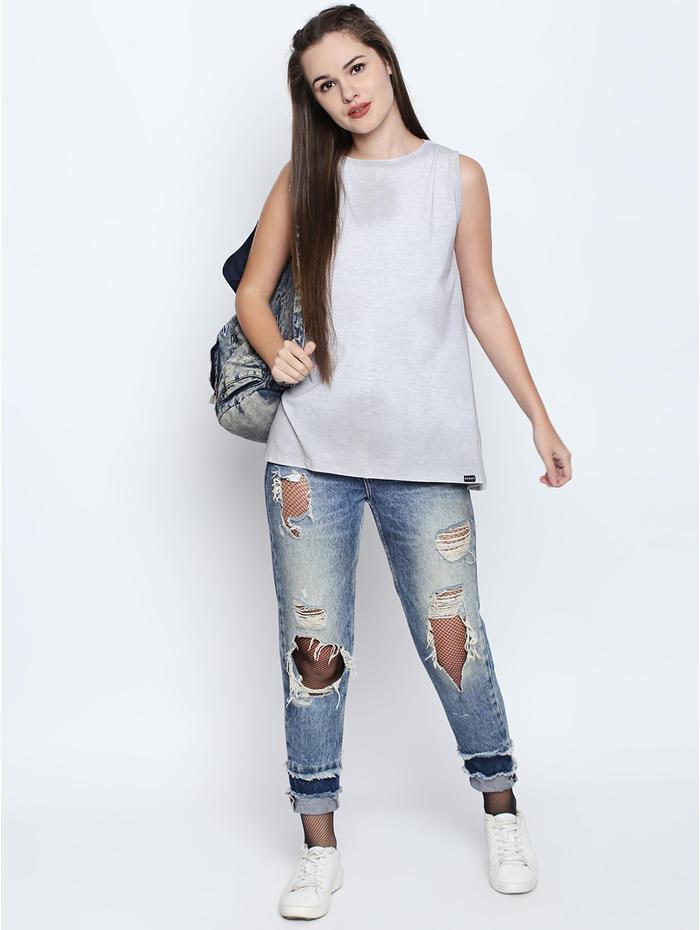 Disrupt White Melange Cotton Viscose Blend Graphic Print Sleeveless T-Shirt  For Women s c83ba85f0c82